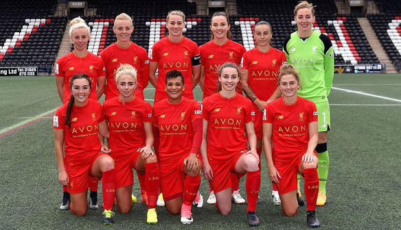 WIDNES, ENGLAND - APRIL 28:  (THE SUN OUT, THE SUN ON SUDNAY OUT)  Liverpool Ladies line up for a photo before the Women's Super League match between Liverpool Ladies and Reading FC Women at Select Security Stadium on April 28, 2017 in Widnes, England.  (Photo by Andrew Powell/Liverpool FC via Getty Images)